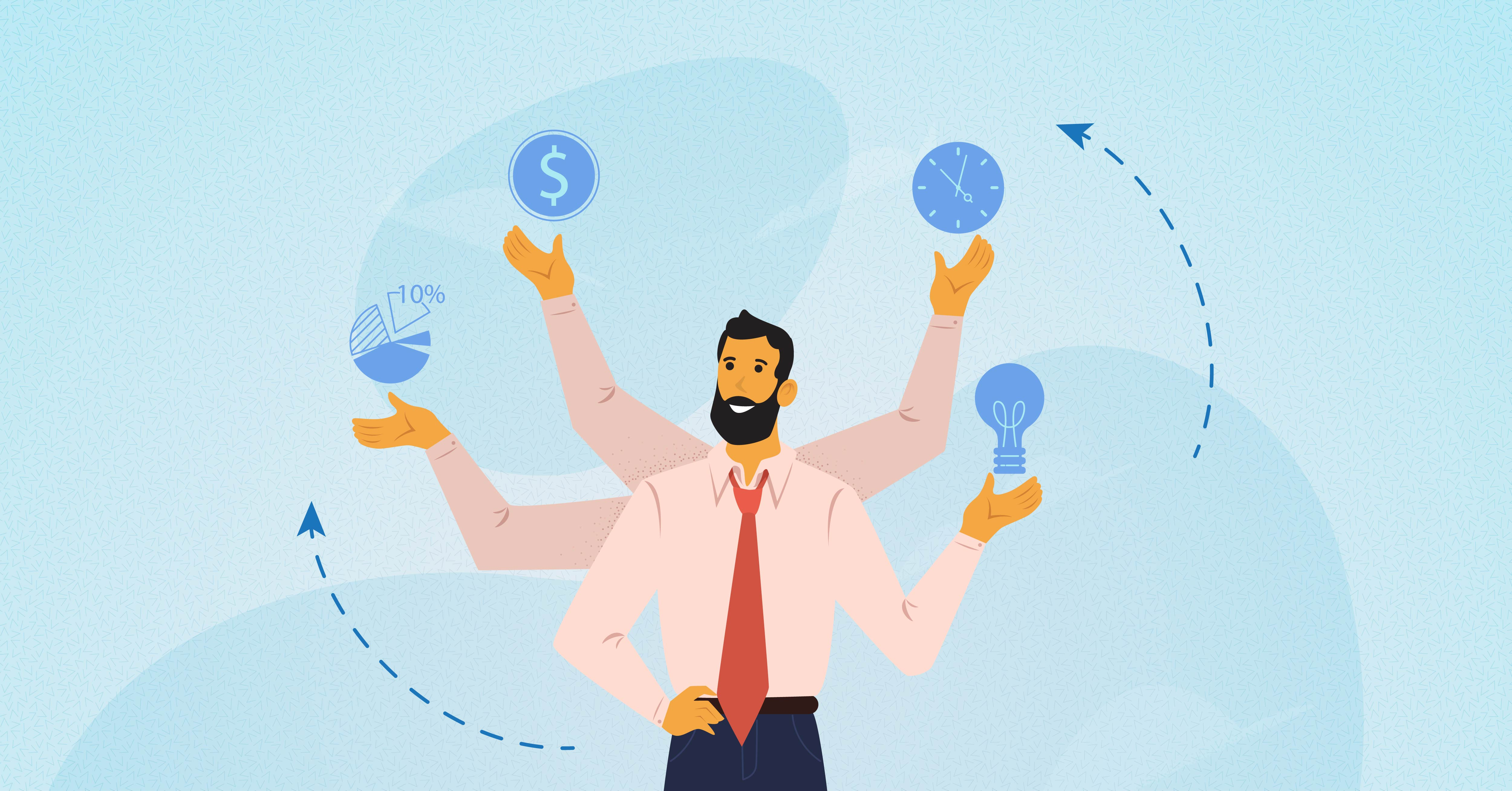 An illustration of a project manager juggling several different tasks, including budgeting, scheduling and resource management.