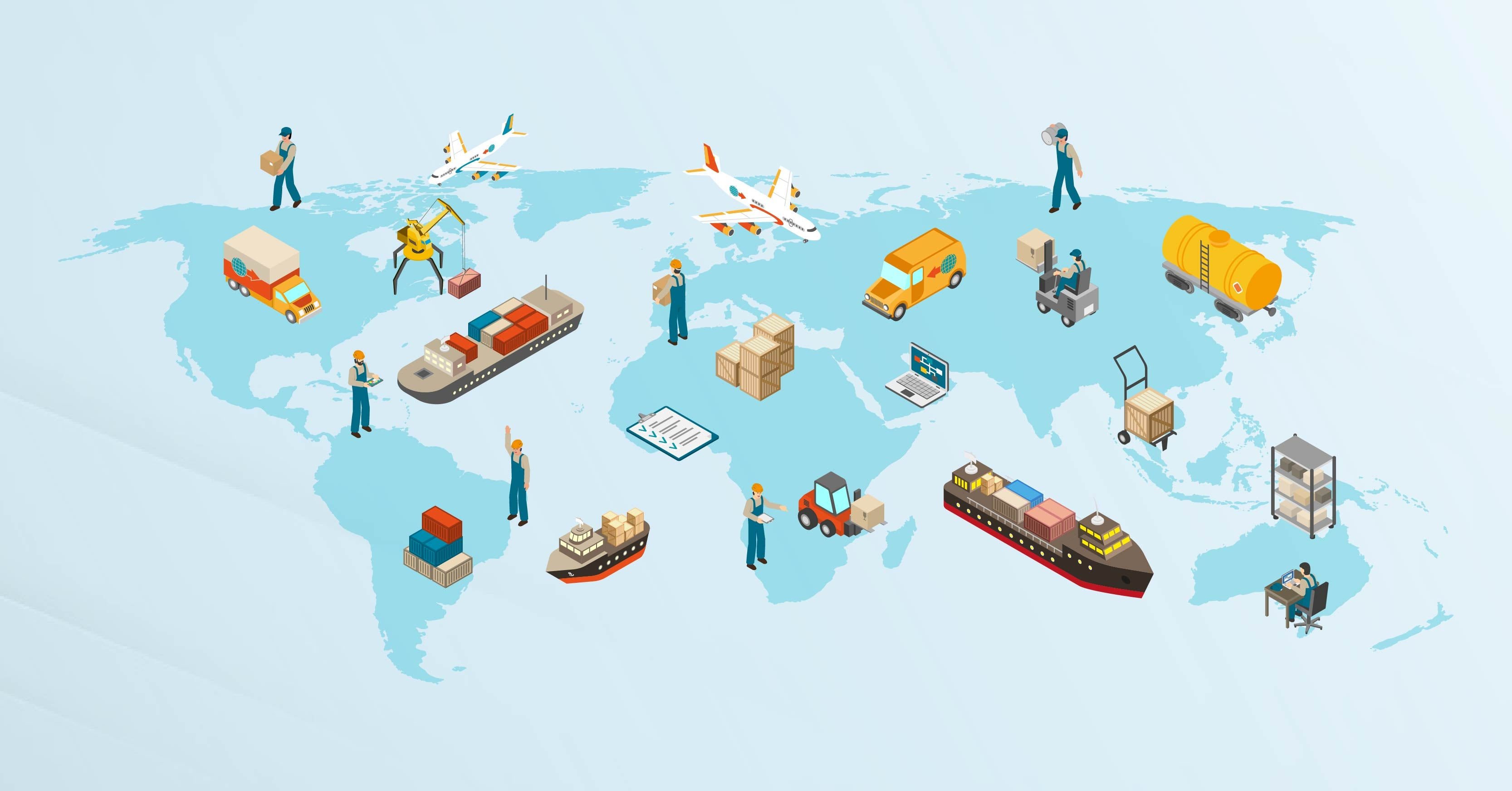 A map of the world dotted with icons representing global supply chains, including airplanes, ships, and containers.