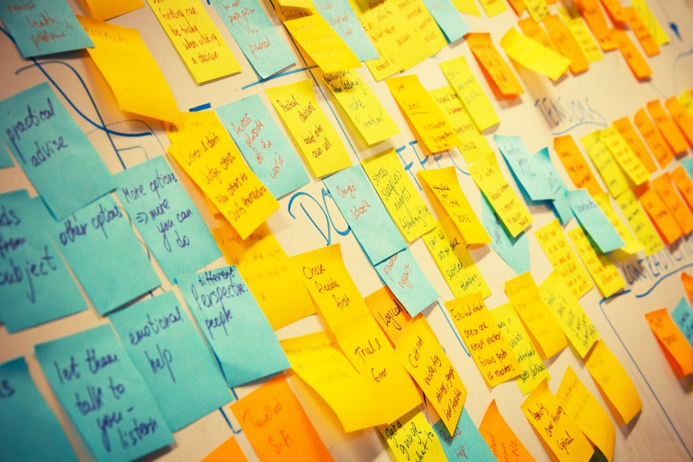 Post-it notes with ideas written on them on an office wall